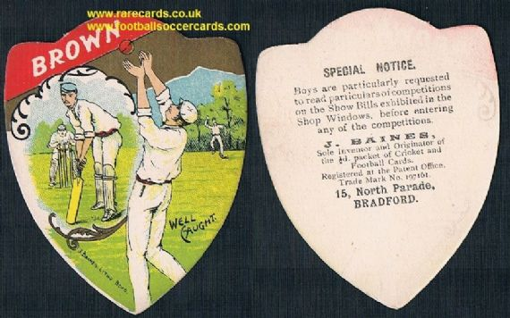 1900 Jack brown Yorkshire County Cricket Club Wisden Cricketer of the year Baines card